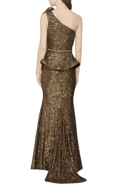coffee brown embellished one shoulder gown