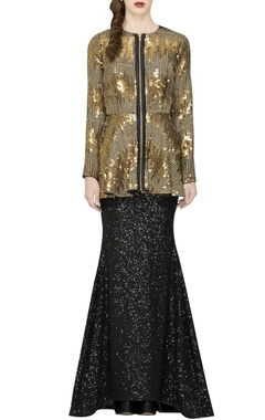black sequin fish cut skirt