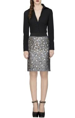 Gold sequin checkered skirt