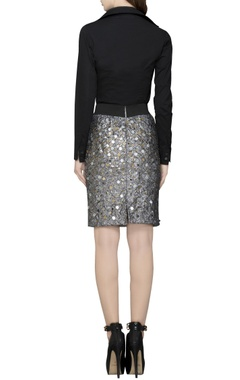 gold sequin checkered skirt