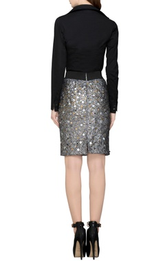 grey sequin embellished skirt