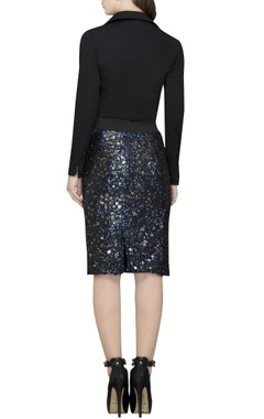 navy blue sequin embellished skirt