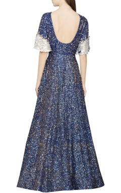 blue sequin gown with bell sleeves