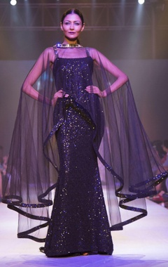 black sequin tulle drape gown