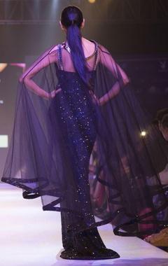 Black sequin tulle drape gown