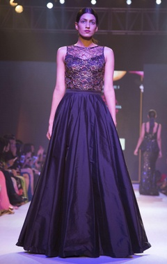 Nitya Bajaj Black lace embellished gown