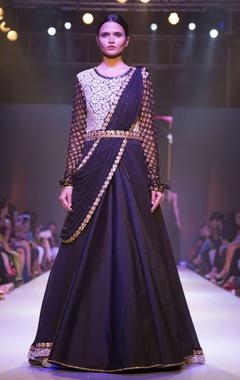 Black sari drape embellished gown
