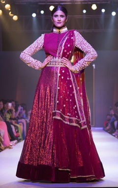 Maroon sequin embroidered gown with belt