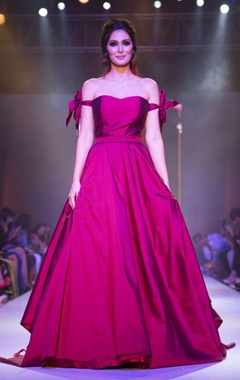 Wine off-shoulder gown with bow sleeves