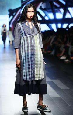 Denim blue linen dress