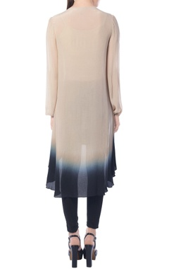 Beige & black ombre high low tunic