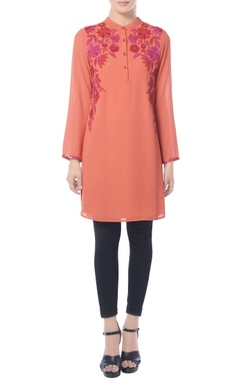 Tangerine floral embroidered tunic