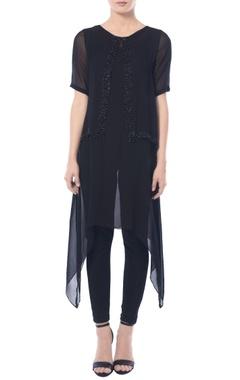 Black asymmetric embellished tunic