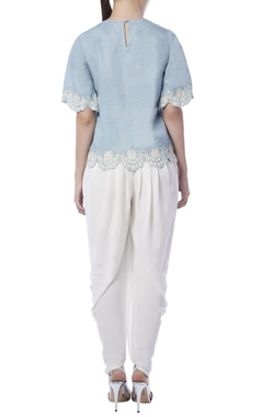 Light blue denim embroidered top