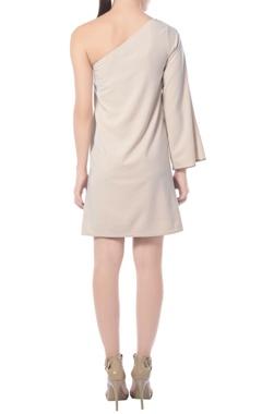 Beige one shoulder embellished dress