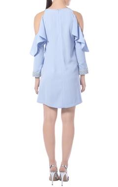 Pastel blue cold-shoulder dress