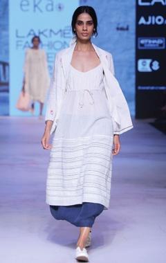 white khadi pintuck dress with drawstrings