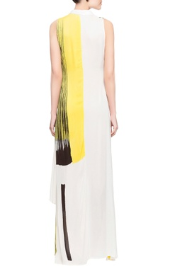 White & yellow brush painted dress