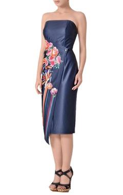 Midnight blue tube midi dress