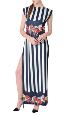 Midnight blue & white striped maxi dress