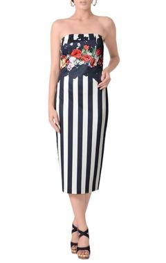 Midnight blue & white striped tube dress