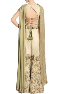 Ivory embroidered jumpsuit with dupatta