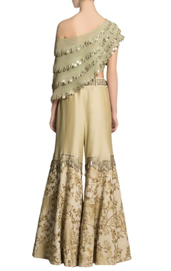 Pista green cape & ivory embroidered pants