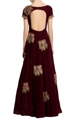 Ox-blood velvet embroidered anarkali dress