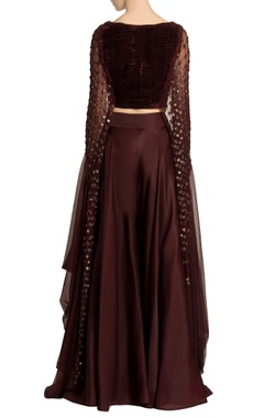 Dark brown velvet crop top & palazzo