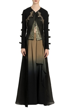 Black embroidered layered jacket & flared pants