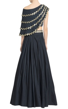 Navy blue mirror embellished cape with skirt