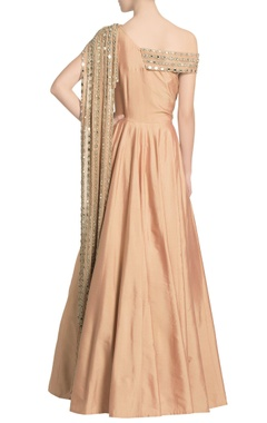 Peach A-line gown with an off-shoulder mirror embellished drape