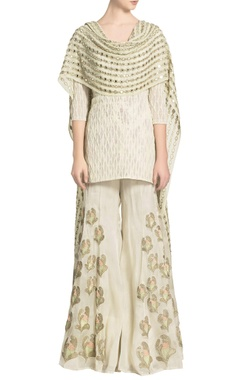 Off-white short kurta & floral embellished sharara with mirror dupatta