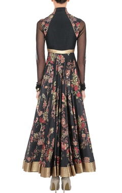 Black floral print anarkali set