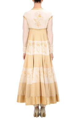 ivory & gold printed anarkali set