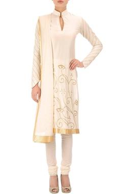 Ivory short embroidered kurta set