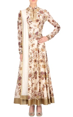 Ivory floral printed anarkali set