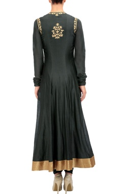 charcoal and gold anarkali set