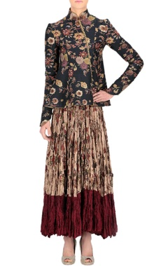 Rohit Bal Black printed asymmetric jacket