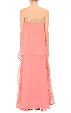 Coral pink embroidered tube dress