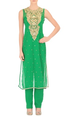 Parakeet green jumpsuit and kurta