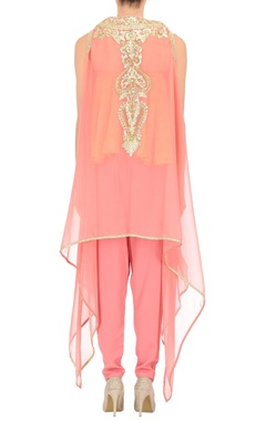 Peach tube top with rose pink dhoti pants & jacket with delicate feminine colors