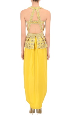 Sunflower yellow peplum top & draped skirt