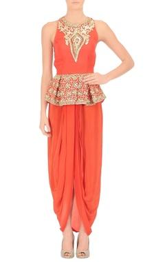 Red peplum top & draped skirt