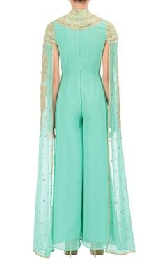 Aqua blue embellished jumpsuit
