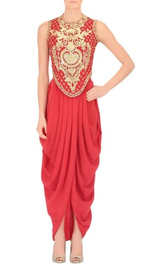 Vermilion gota work crop top & dhoti
