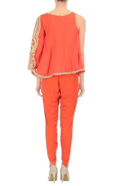 Red one sleeved top & dhoti pants