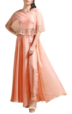 Peach cape maxi with high waist pants