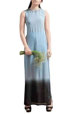 powder blue side slit maxi with dhoti pants