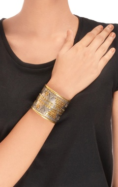 Antique silver & gold cuff